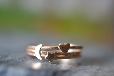 Ultra Thin 14K Gold Heart Moon Star Stack Ring Set