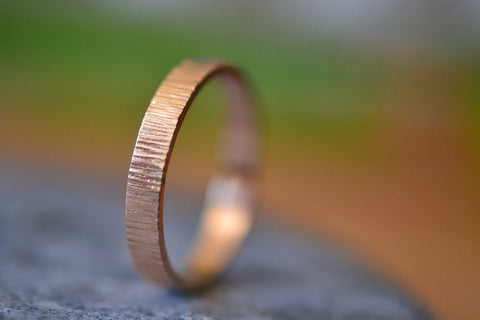 3mm 14K Rose Gold Tree Bark Wedding Band With Engraving