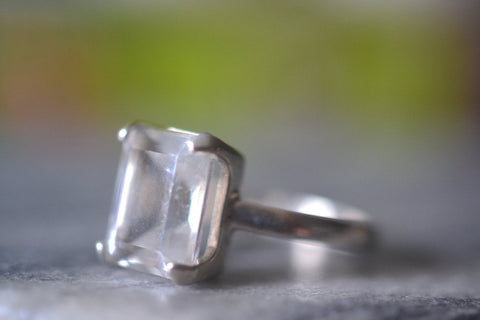 Emerald Cut Rock Crystal Ring For Women in Sterling Silver