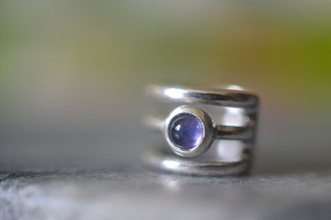 Boho Ear Cartilage Cuff in Sterling Silver With Natural Iolite Stone