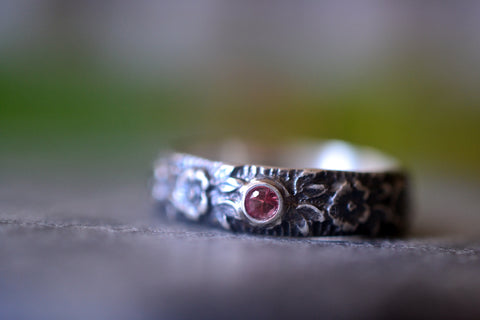 Men's Oxidised Silver Wild Rose Wedding Band With Red Sapphire