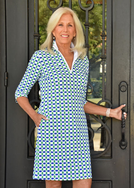 Britt Dress 3/4 Sleeve - Geo Green/Navy