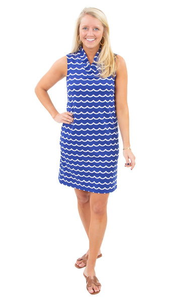 Bridget Dress - Soft Wave White/True Blue