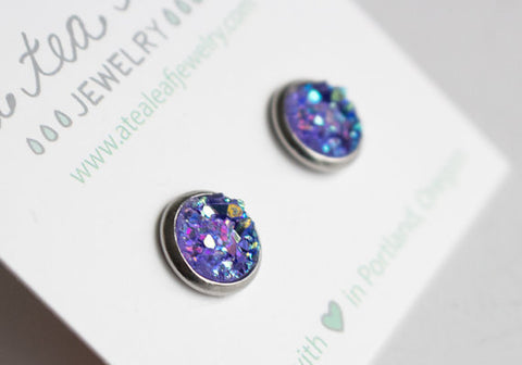 A Tea Leaf Jewelry - Violet Purple Druzy Crystal Earrings