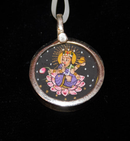 Hand Painted Silver Pendant 3/4""