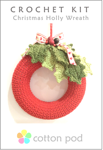 Christmas Holly Wreath Crochet Kit buy from www.cottonpod.co.uk