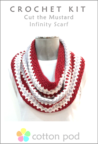COTTON POD Crochet Kit ~ Cut The Mustard Infinity Scarf - Red/white/grey