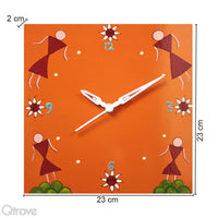 Hand Painted Orange Wooden Wall Clock