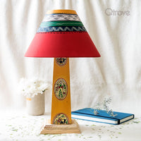 Handmade Wooden Warli Painted Lamp