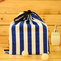 Blue And White Cotton Drawstring Bags