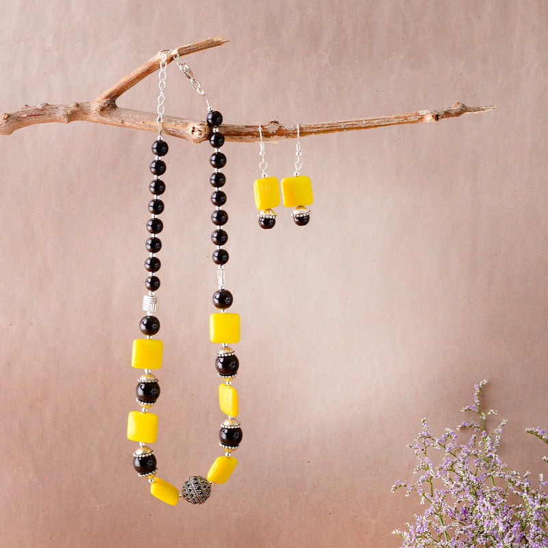 Handcrafted Black And Yellow Beaded Necklace
