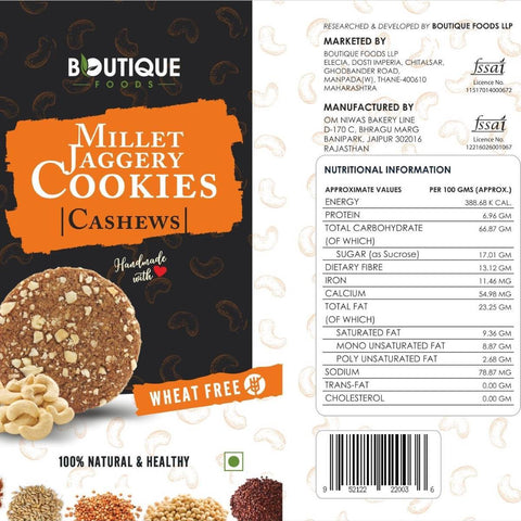 Millet Jaggery Cookie (Cashews) - Pack of 2