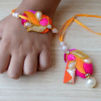 Pink, Orange and Gold Pearl Bead Rakhi Set With Lumba (Set of 3)