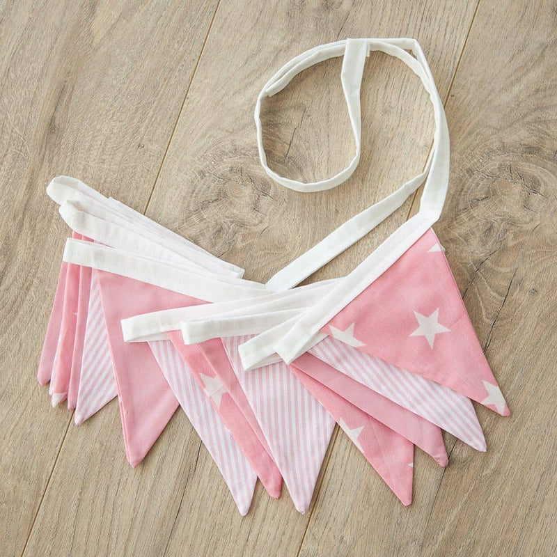 Girls Bunting - Pink / White Stars and Stripes, Bunting, All Mama's Children - All Mamas Children