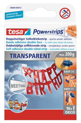 tesa Powerstrips DECO self-adhesive strips, removable, transparent