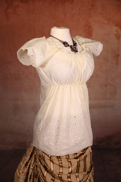 Emma Blouse Ivory Eyelet Cotton - RC1/RC2