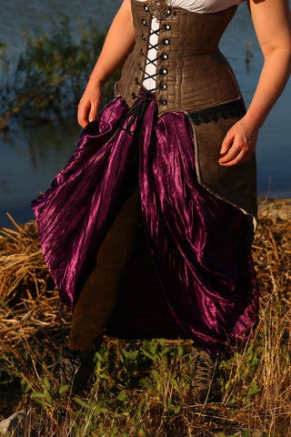 Split Front Overskirt Crushed Plum Satin - NF