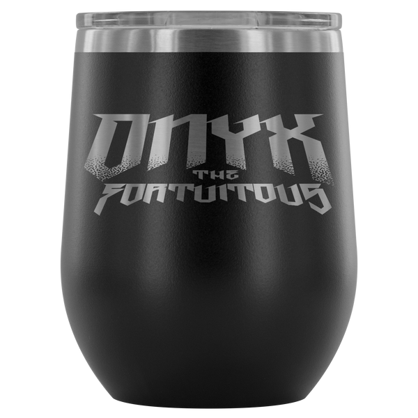 NEW! Laser Etched Wine Tumbler with Onyx the Fortuitous Logo!
