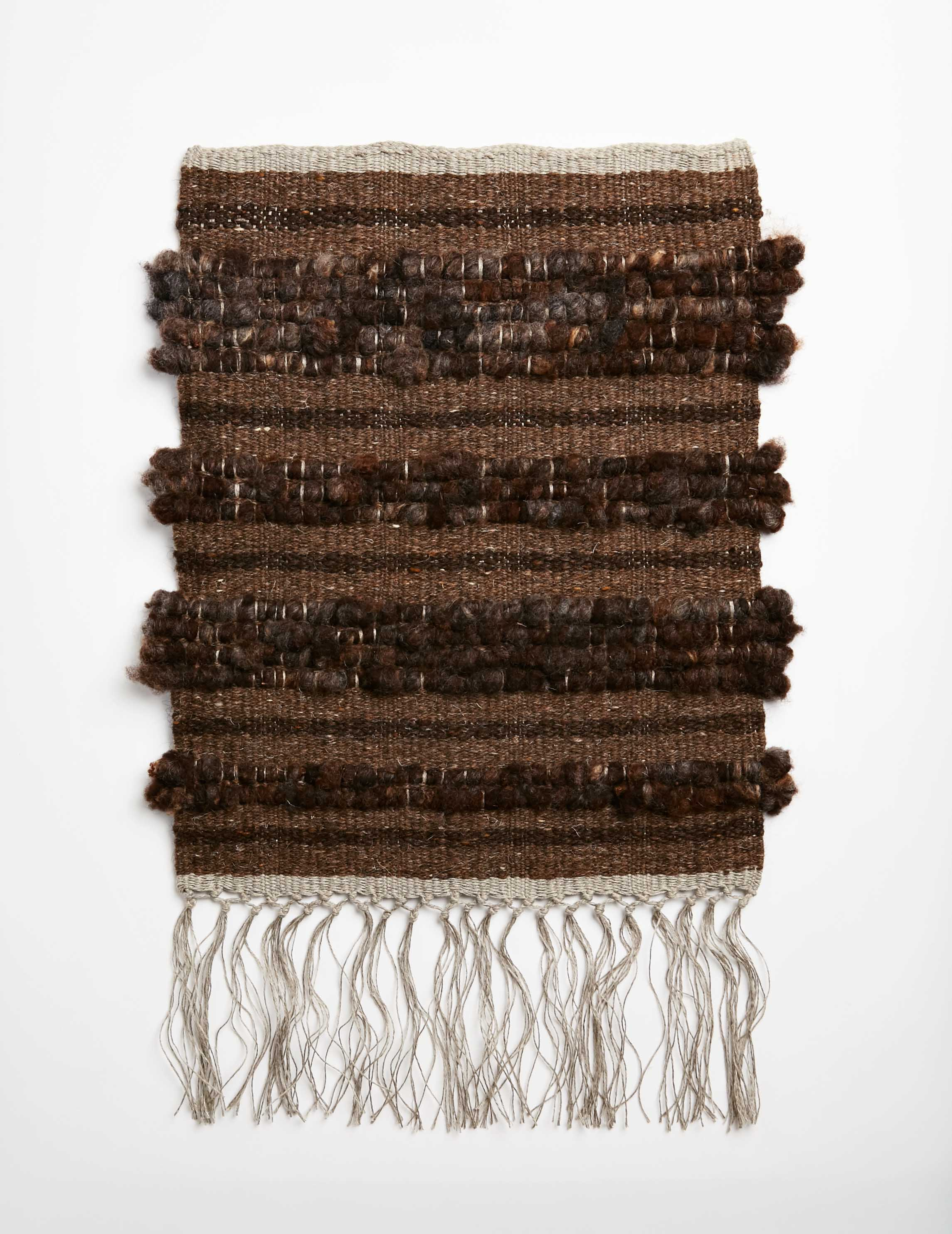 Raw Fleece Wall Hanging - Blackened Peat II