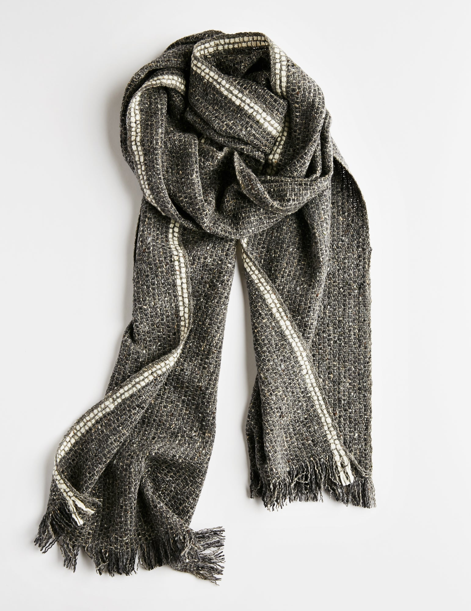 Tweed Emphasize Scarf - On The Road - Double White