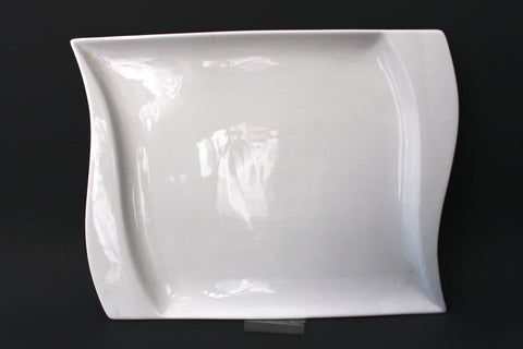 33-1 White Square Porcelain Dinner Plate, 8.5""