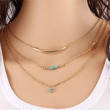 Load image into Gallery viewer, Necklace - Multilayer Hamsa Evil Eye Bar Necklace