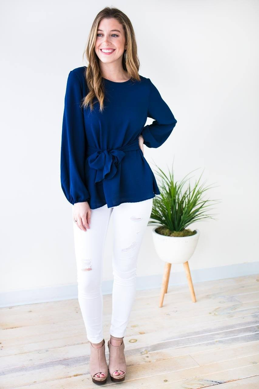 Tops Made to Flatter You Tie Waist Blouse - Navy - Lotus Boutique