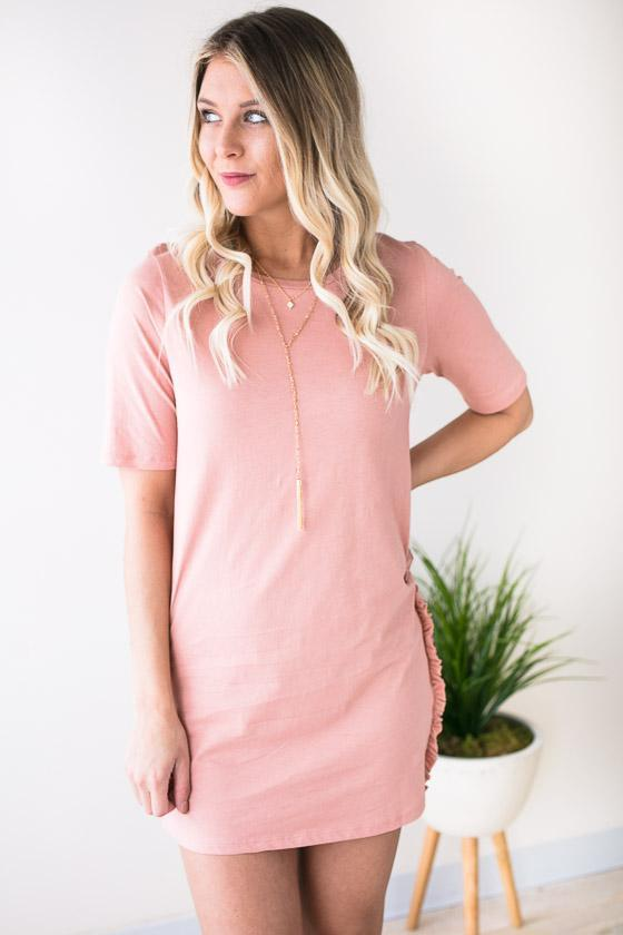 Dresses Aftershock Crew Neck Shirt Dress - Rose - Lotus Boutique