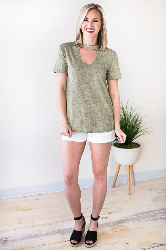 Tops Textured Valley Cut Out T Shirt - Olive - Lotus Boutique