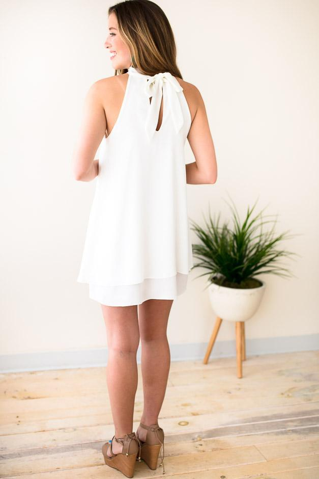 Dresses Haute to Trot Halter Neck Layered Dress - White - Lotus Boutique