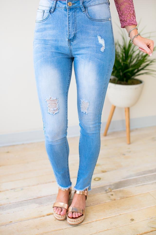 Bottoms With the Band High Waist Distressed Jeans - Lotus Boutique