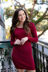 Ribbed Burgundy Sweater Dress