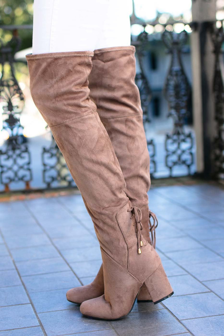 Taupe Over The Knee Boots