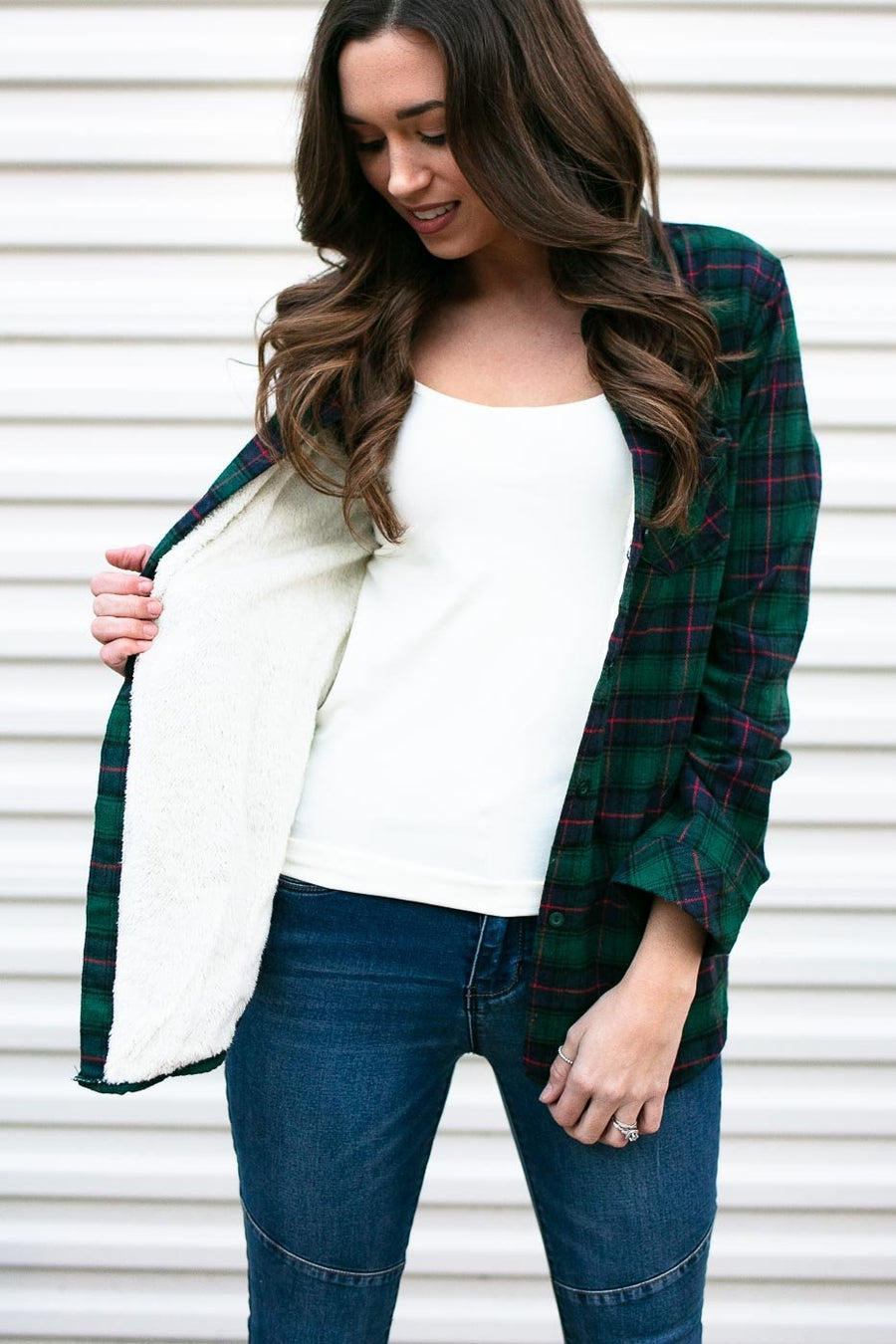 Green Plaid Fur Lined Top