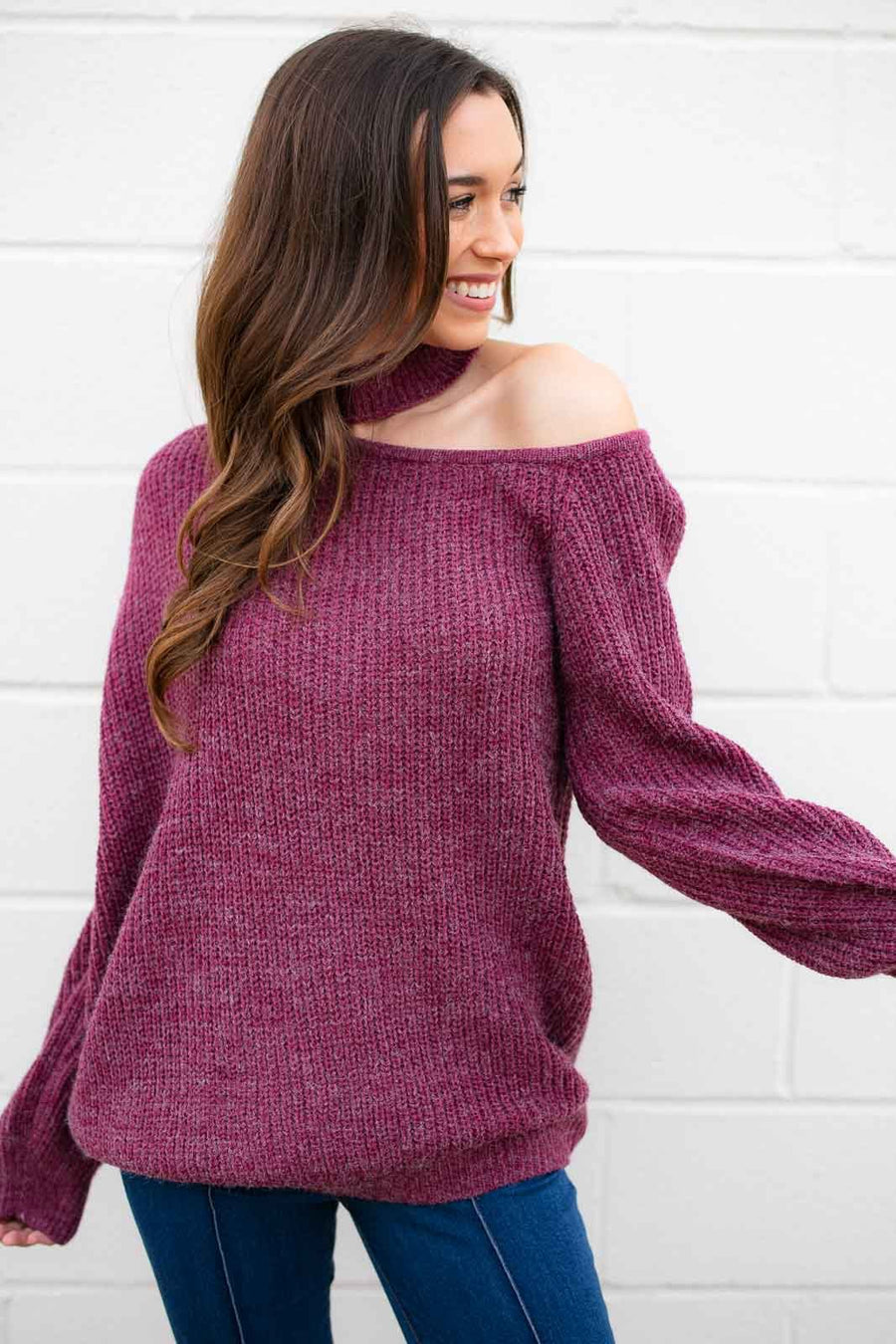 Grape Cut Out Sweater