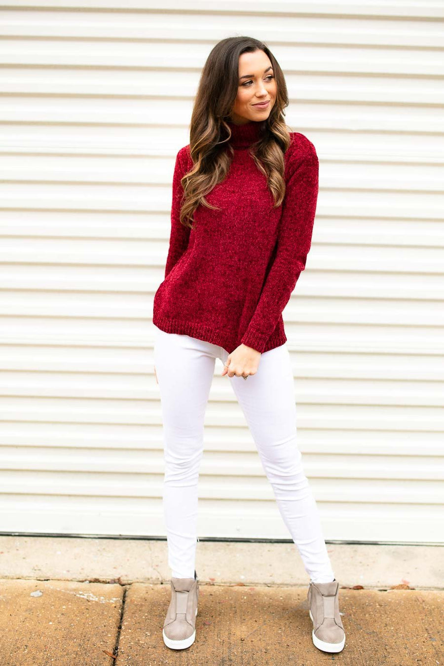 Turtleneck Chenille Red Sweater