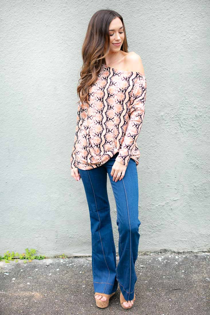 Pretty Little Python Print Off Shoulder Top Coral
