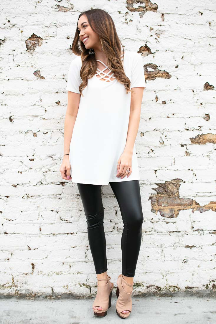 Ivory  Crisscross Front Tunic