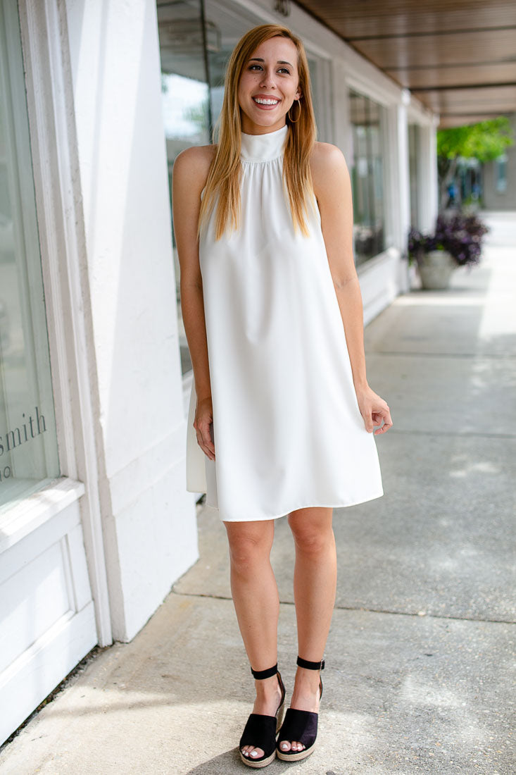 Harper Halter Neck Dress in Ivory