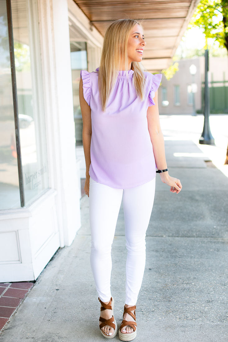 Time To Brunch Lilac Ruffle Top