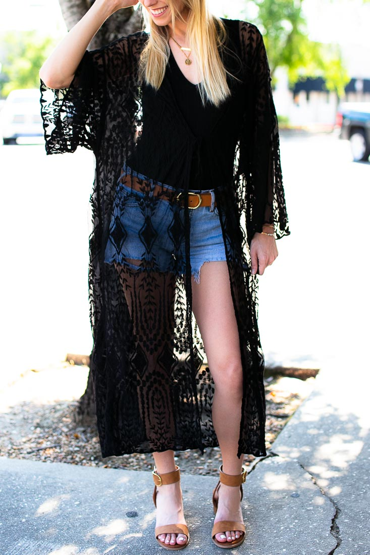 Rebel Alley Black Lace Duster Kimono