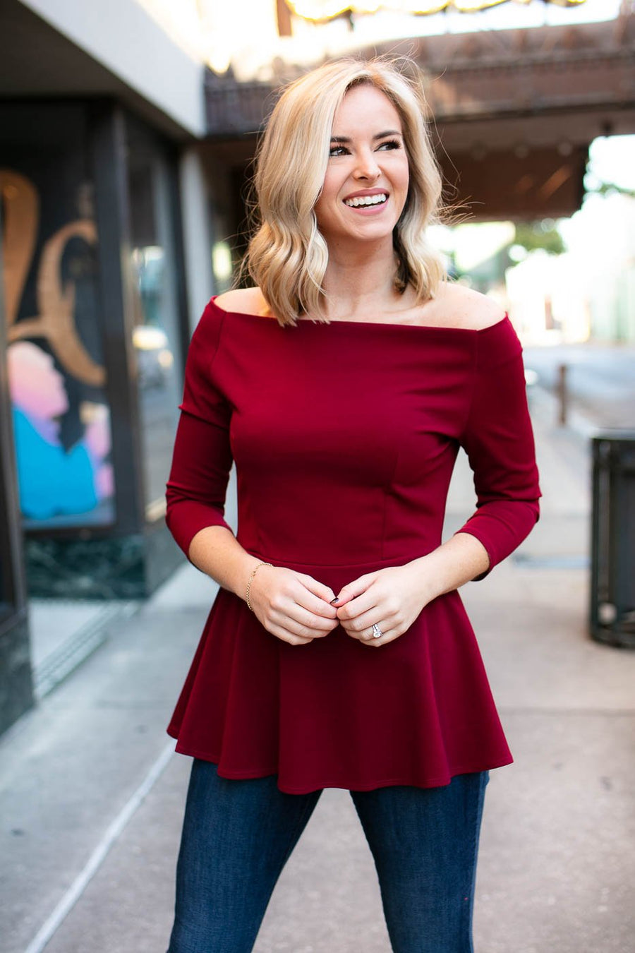 Tops Pretty Peplum Top in Wine - Lotus Boutique