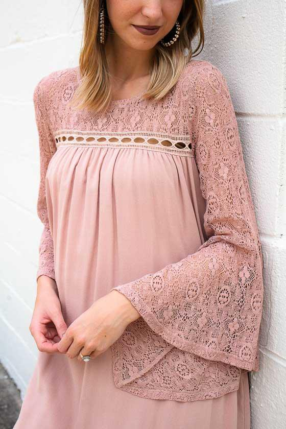 Dresses Dear Lacey Bell Sleeve Blush Dress - Lotus Boutique