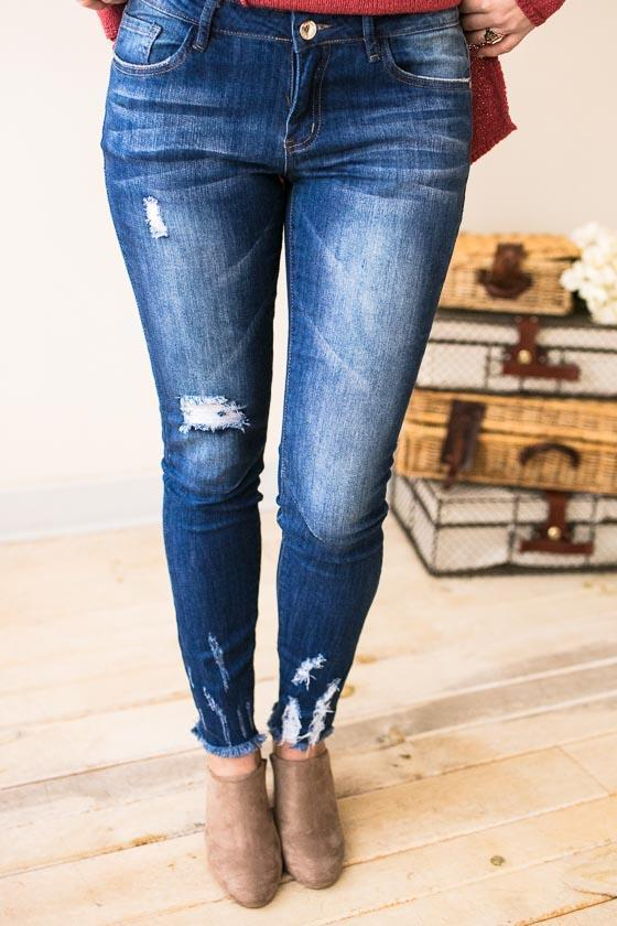 Bottoms All The Right Places Basic Distressed Skinny Jeans - Lotus Boutique