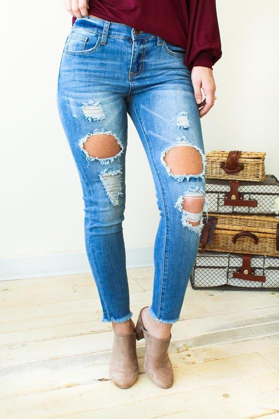 Bottoms Rough Around The Edges Light Wash Distressed Skinny Jeans - Lotus Boutique
