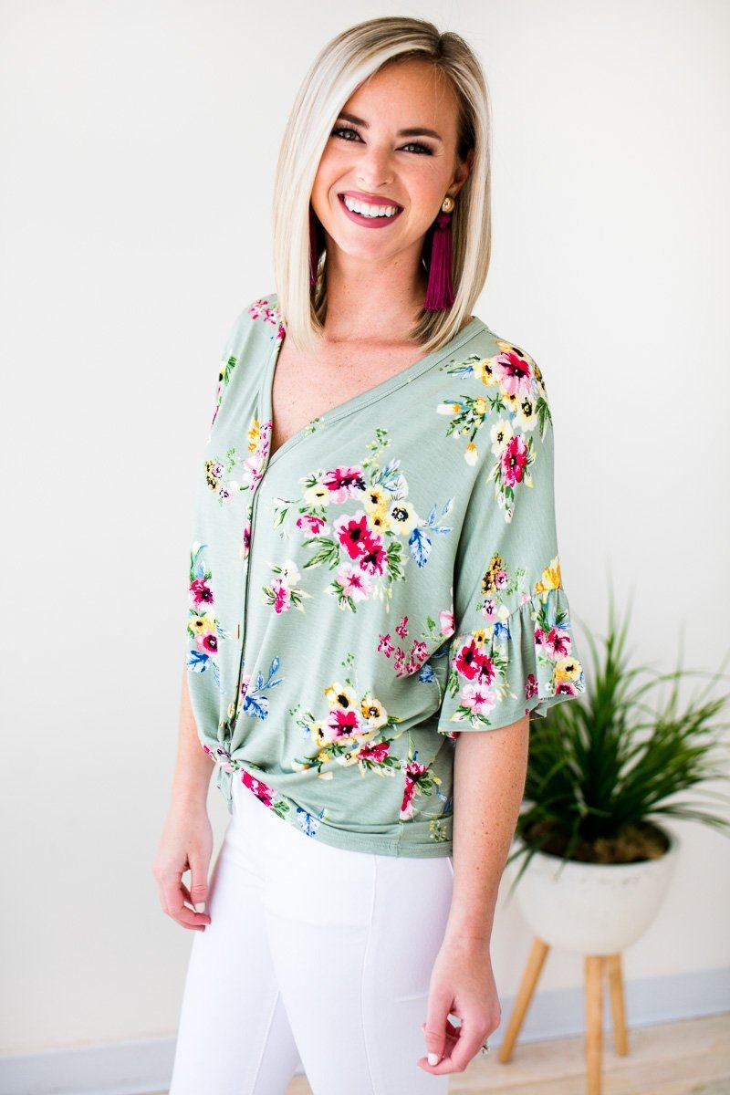 Tops You're On My Mind Tie Front Top - Sage - Lotus Boutique