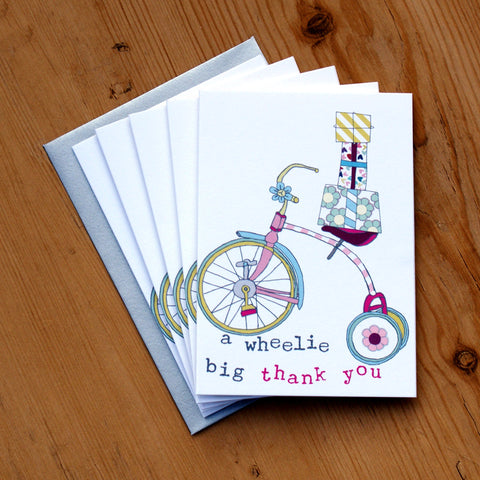 5 Mini Card Pack - girls wheelie big thank you (MP08)