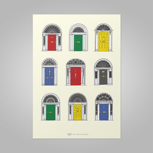 Irish Georgian Doorways, primary colours, unframed print, A4 and A3; or A4 framed in black frame.
