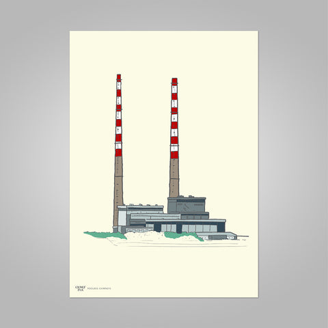 Poolbeg Chimneys colour on cream, unframed print, A4 and A3; or A4 framed in black frame.