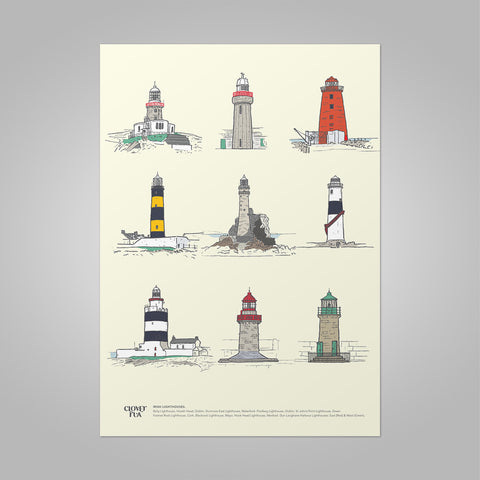 Irish Lighthouses unframed print, A4 and A3; or A4 framed in black frame.